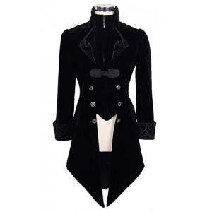 Devil Fashion Mens Gothic Storm Velvet Jacket