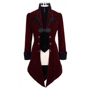 Devil Fashion Mens RED Gothic Storm Velvet Jacket