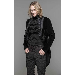 Devil Fashion Mens Black Velvet Adrian Jacket