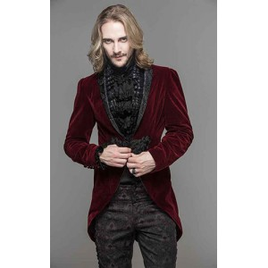 Devil Fashion Mens Red Velvet Adrian Jacket