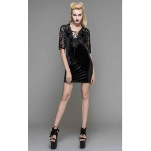 Devil Fashion Black Velvet Elouise Dress