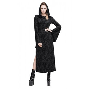 Devil Fashion Black Burnout Velvet Salem Rose Dress