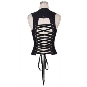 Devil Fashion Lace Up Back Abyss Top