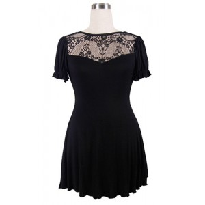 Devil Fashion Black Lace and Jersey Druidess Dress