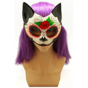 DAY OF THE DEAD KITTY HALF MASK