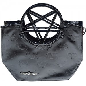 Pentagram Handle Purse Bag Black