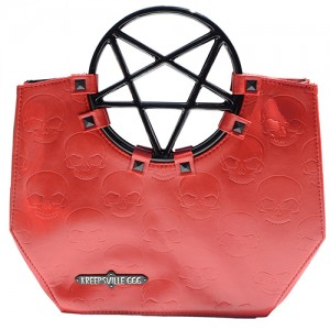 Pentagram Handle Purse Bag Red
