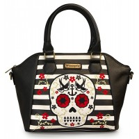 Loungefly Floral Sugar Skull Striped Cross Body Bag