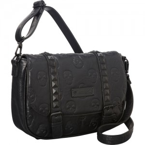 Loungefly Black Studded Skulls Cross Body Bag
