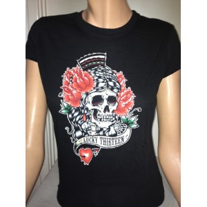 LUCKY 13 GIRLS TEE SKULL FLOWERS