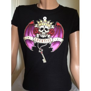 LUCKY 13 GIRLS TEE SKULL BAT