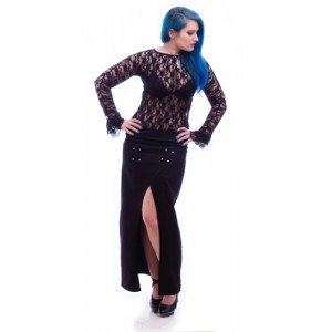 Necessary Evil Gothic Cleone Long Split Skirt
