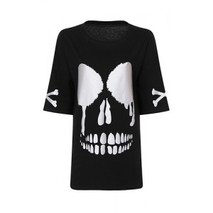 Milisha Gothic Reflective Skull Face T-Shirt