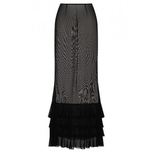 Necessary Evil Lilith Mesh Maxi Trumpet Skirt