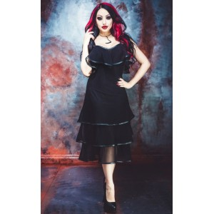 Necessary Evil Lucina Layered Mesh and Leatherette Dress
