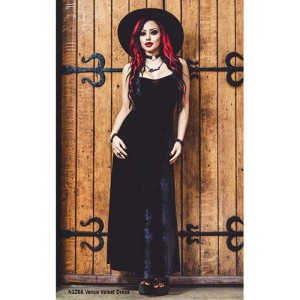 Necessary Evil Venus Long Black Velvet Maxi Dress