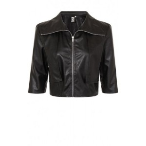 Necessary Evil Faux Leather Cropped Diana Jacket