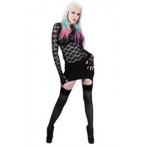 Necessary Evil Llorna Lace Top with Fingerless Glove Sleeves