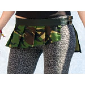Black Webbing Belt with a Camouflage Skirt