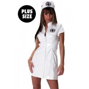 White gloss nurse dress
