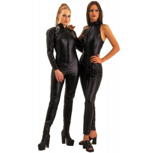 Leather Look L/Sleeve Catsuit (Left)
