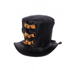 GOLDEN STEAMPUNK 3 BUCKLE LEATHER TOP HAT