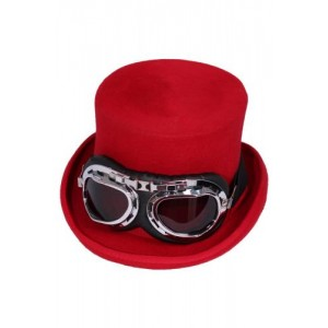 5 INCH LINED WOOL STEAMPUNK TOP HAT