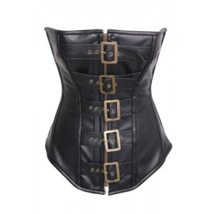 FIVE LARGE BRASS BUCKLE STEAMPUNK CORSET