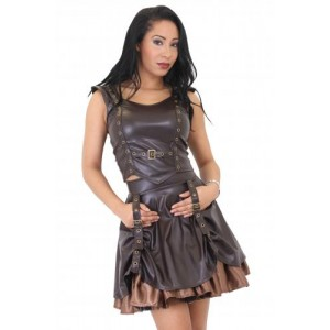 AGGY LEATHER LOOK EYELET TOP