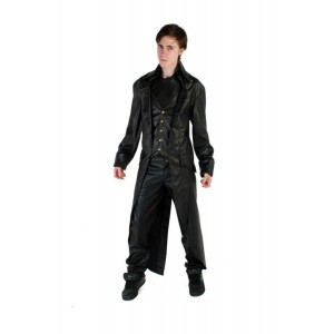 LONG LEATHERLOOK GRIM COAT WITH WAIST COAT