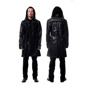 Short Tail D-Ring Leather Look Coat