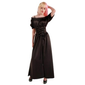 Sadie Satin Long Gypsy Dress Cuba Trim