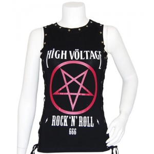 High Völtage Pentagram girls studded top