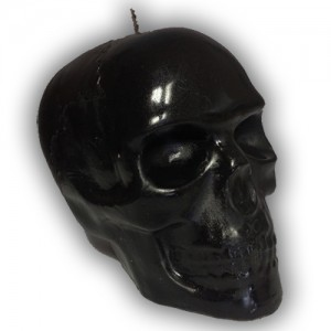 Large Death Skull Black Candle