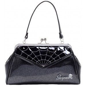 SOURPUSS SPIDERWEB BACKSEAT BABY PURSE BLK/SILVER