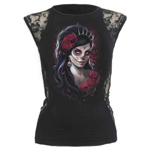 DAY OF THE DEAD F LaceSide Sleeveless Blk