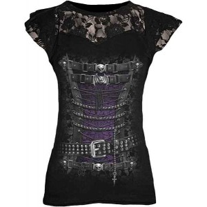 WAISTED CORSET F Lace Layered Viscos Blk