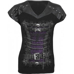 WAISTED CORSET - Leather Look Studed Top Black