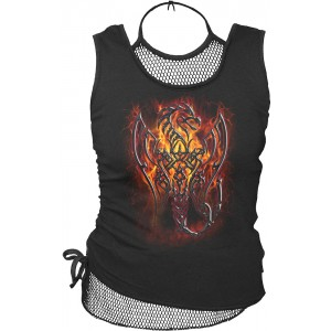 TRIBAL FURY  2in1 Neck Tie Mesh Top Black