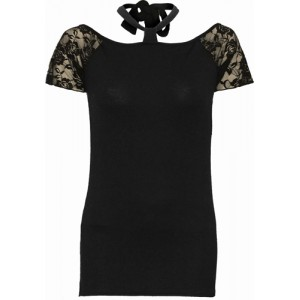 GOTHIC ELEGANCE - Knotted NeckBand Lace Shoulder Top