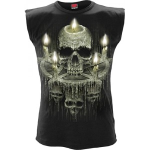 WAXED SKULL - Sleeveless T-Shirt Black