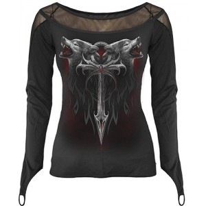LEGEND OF THE WOLVES - Fine Mesh Goth Glove Top Black