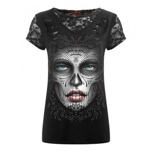 DEATH MASK - 2in1 Ripped Black Lace Top