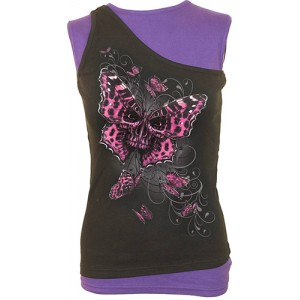 BUTTERFLY SKULL - 2in1 Slant Top Purple and Black