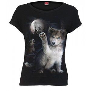 WOLF PUPPY - Boatneck Cap Sleeve Top Black