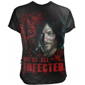 DARYL - ALL INFECTED - Walking Dead Ripped T-Shirt Black