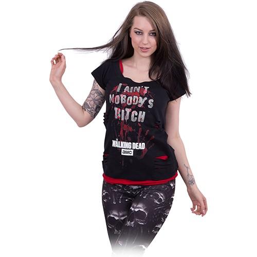 04ac8f0f2c NOBODY S BITCH - 2in1 Red Ripped Top Black - Black Rose