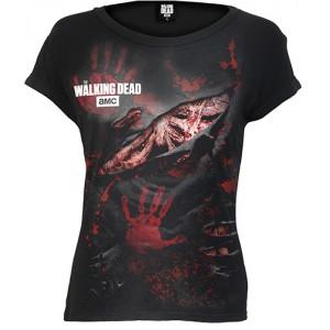 0e7763d3ea LOGO - BLOOD HAND PRINTS - Walking Dead Ripped Cap Sleeve Black