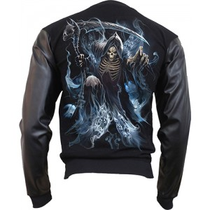 GHOST REAPER - Bomber Jacket with PU Leather Sleeves