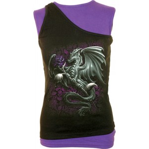 DRAGON ROSE  2in1 Slant Top Purple and Black